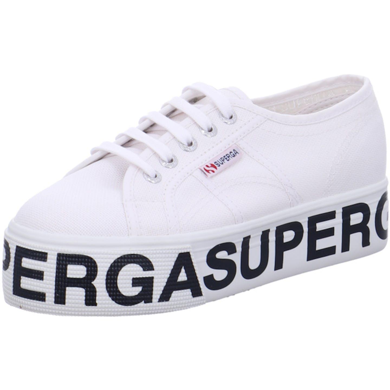 Superga 2790 Cotw Outsole Lettering Plateau Sneaker für Damen, weiß