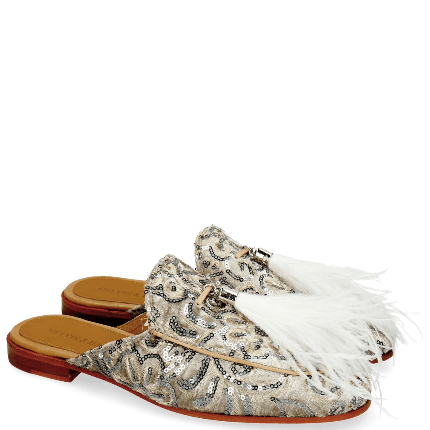 Scarlett 2 Textile Zardosi Beige Feather