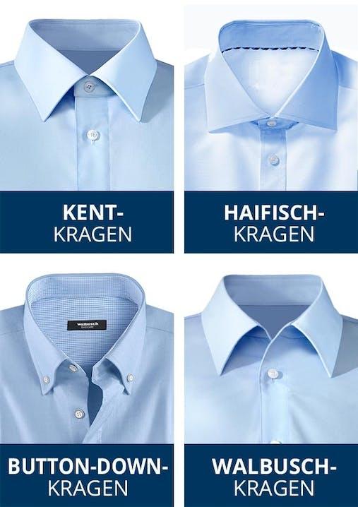 4 Hemdenanschnitte mit jeweils einer Kragenform.