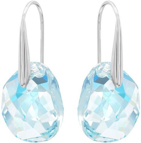 Ces Boucles d'oreilles SWAROVSKI sont en Métal et Cristal Bleu