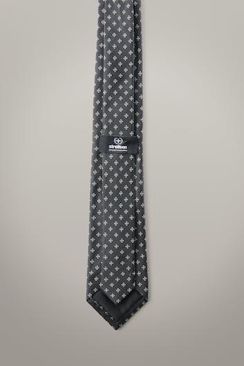 Zijden stropdas, antraciet met dessin