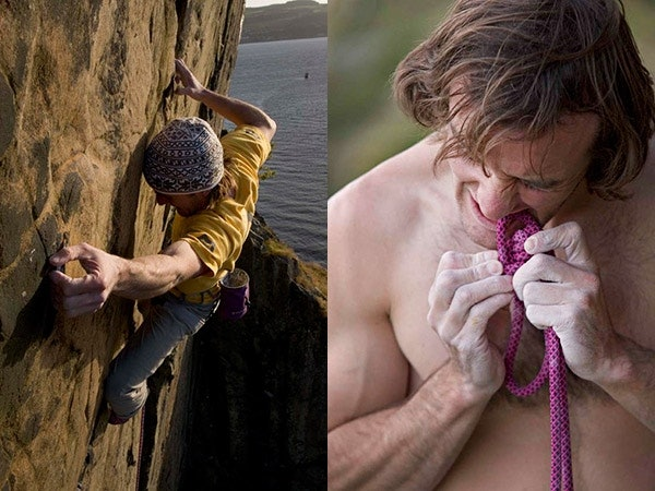 """Dave klettert """"Rhapsody"""" (E11, 7a). Die zu dem Zeitpunkt (2006) schwerste Trad-Route der Welt. Foto: Steve Gordon"""