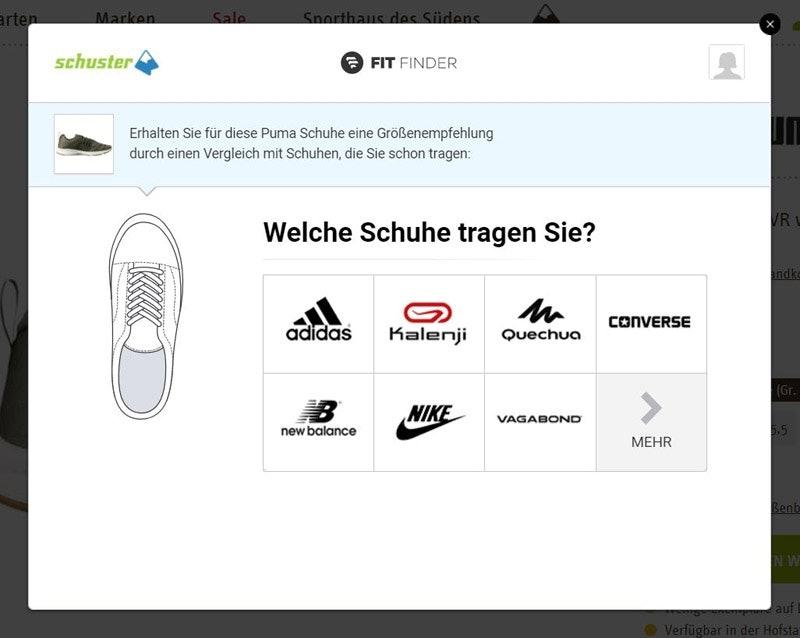 Im ersten Schritt markiert Ihr eine Marke, von der Ihr schon Schuhe habt, die richtig gut passen.
