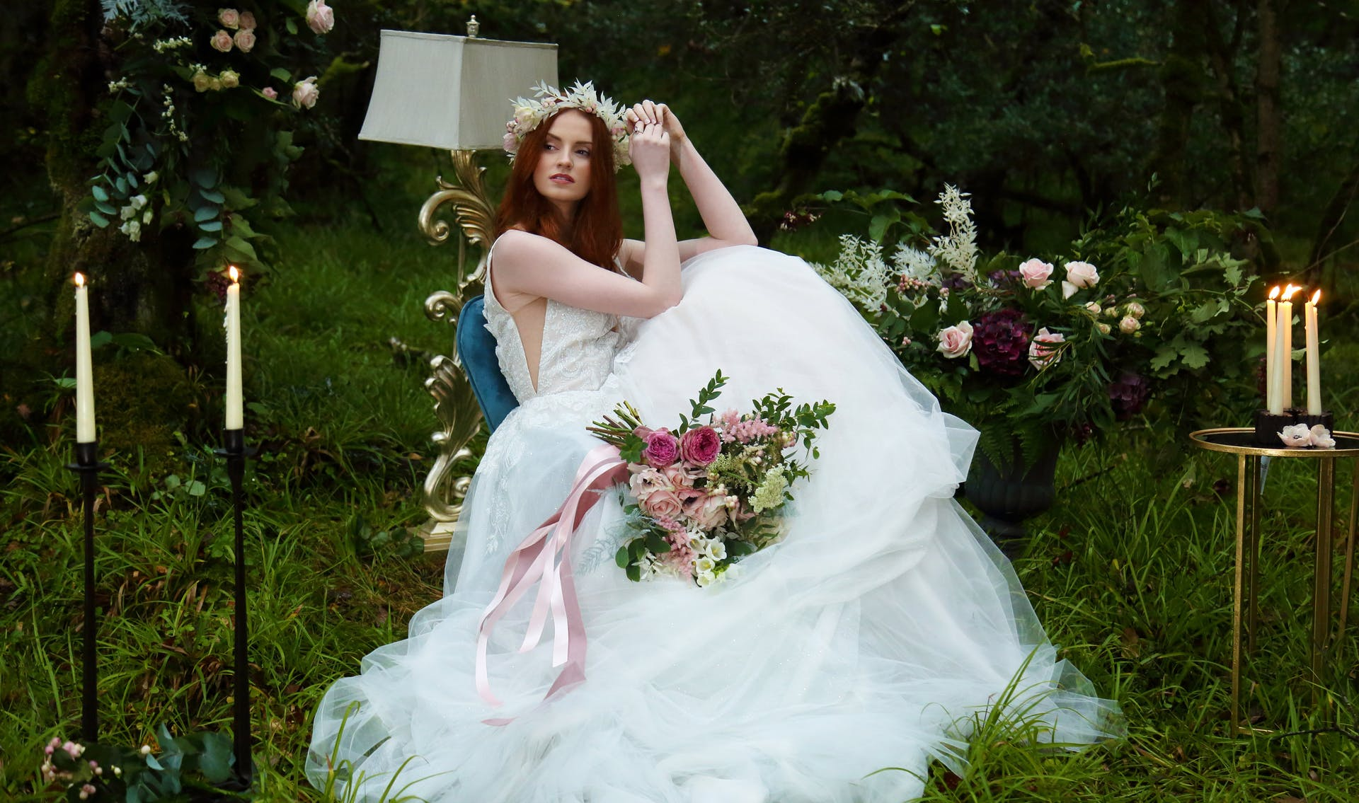 Bride in tulle wedding dress in forest