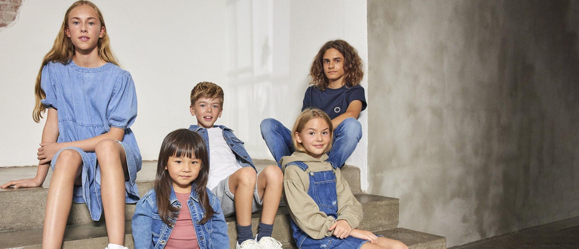 Group of children in denim