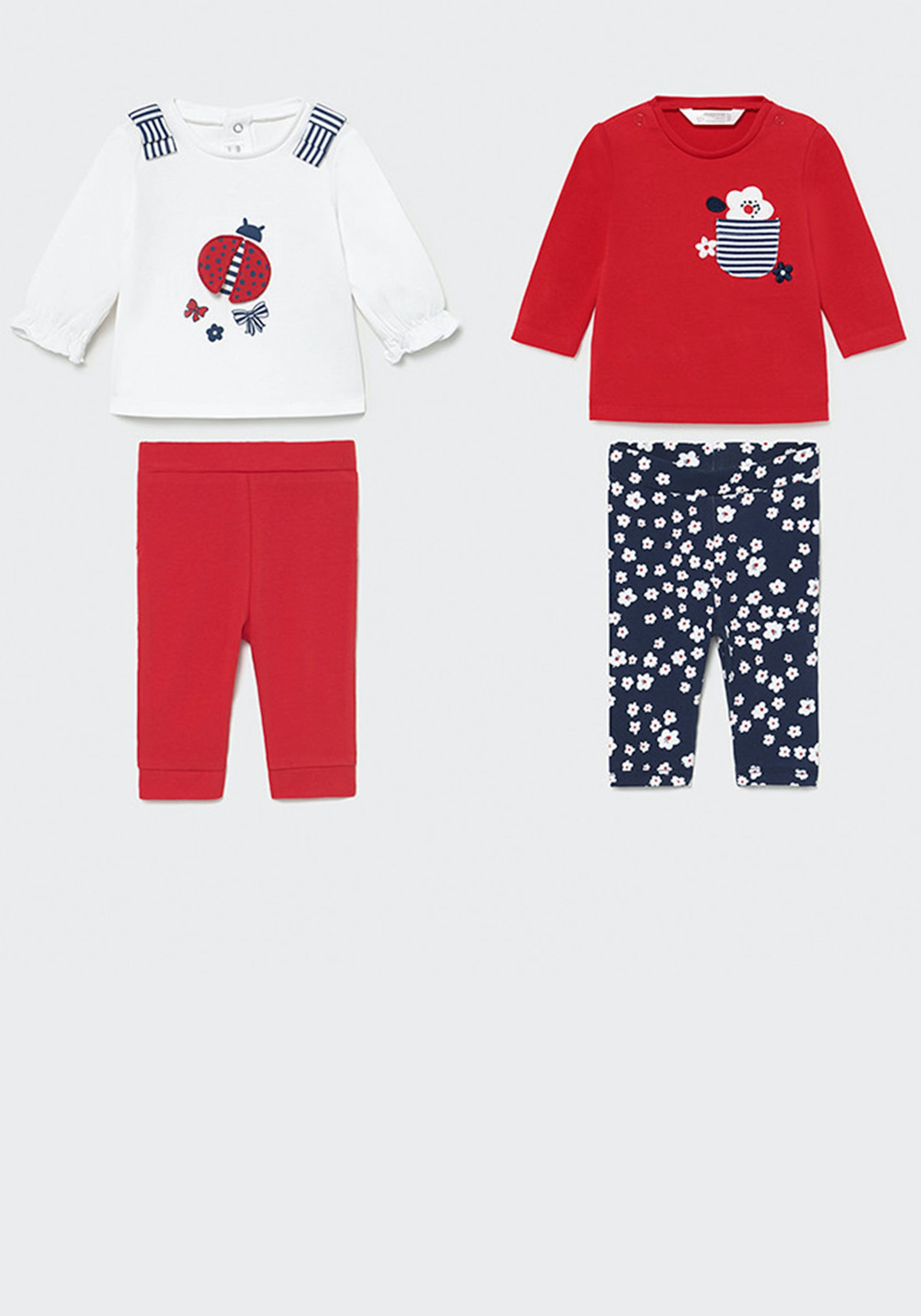 Mayoral Baby Girls 4 Piece Top and Leggings Set, Red Mix