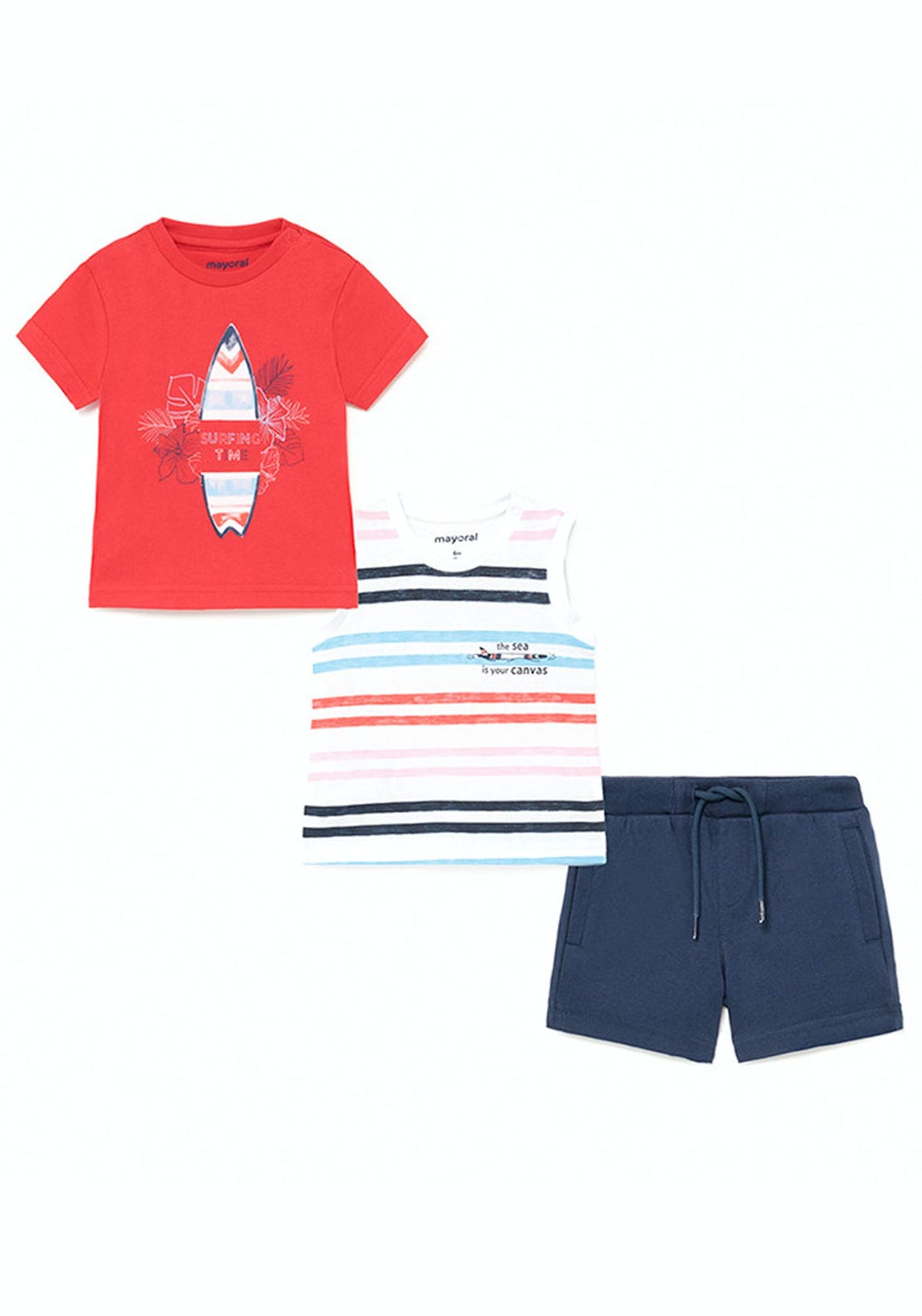 Mayoral Baby Boys Surf Time 3 Piece Set, Red