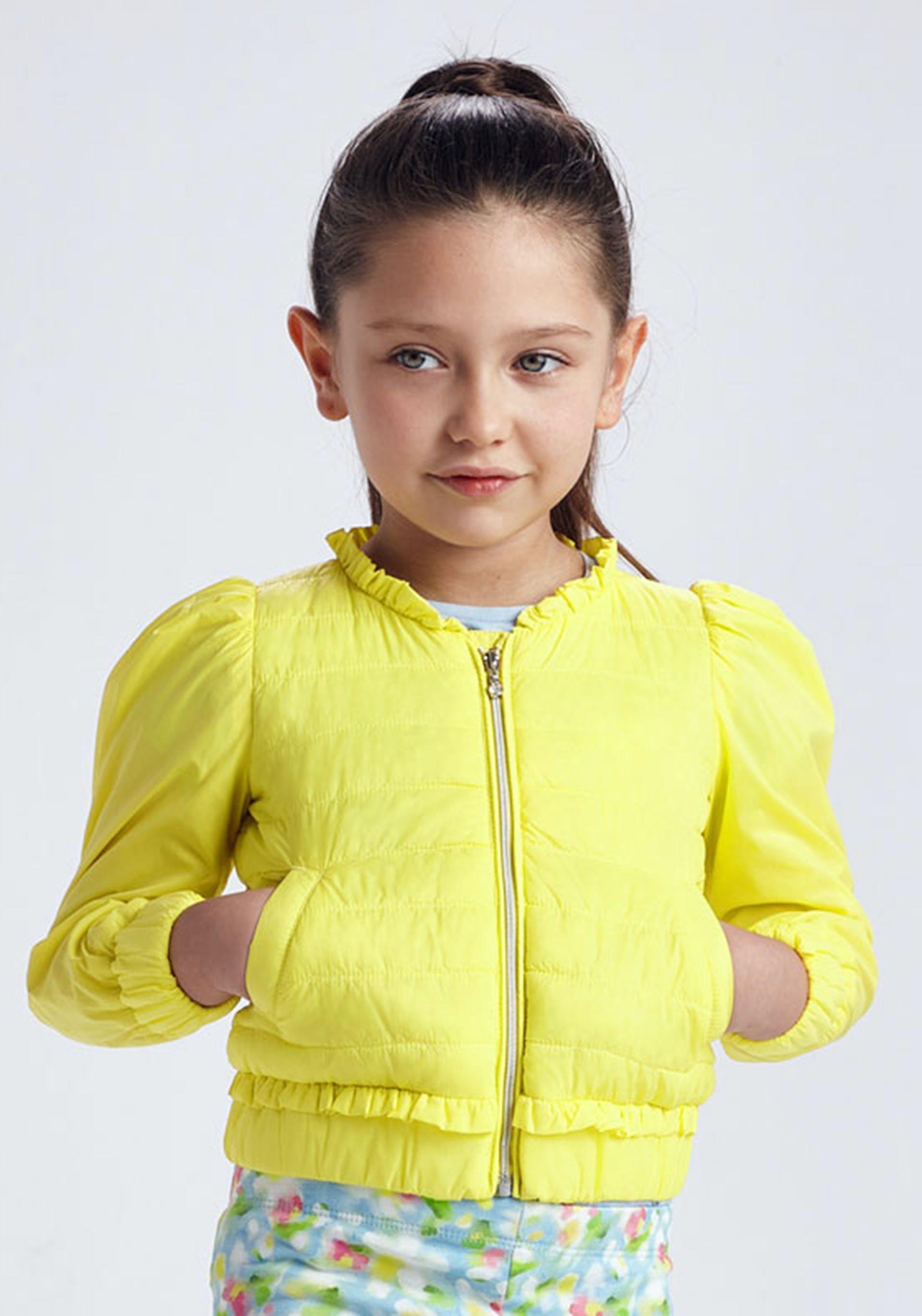 Mayoral Girls Soft Puffer Jacket, Yellow