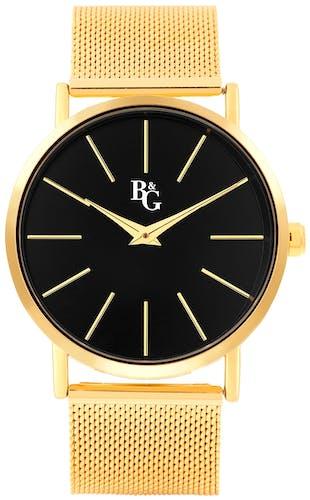 Cette montre B&G se compose d'un boîtier Rond de 40 mm et d'un bracelet en Métal Jaune